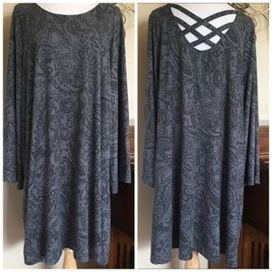 NWT Boutique Plus Size 1X Gray Long Sleeve Dress